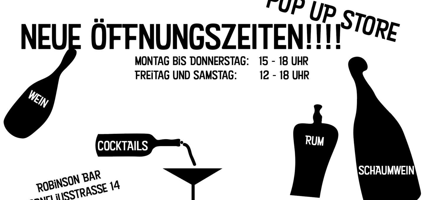 Neue Öffnungszeiten vom Pop Up Store!